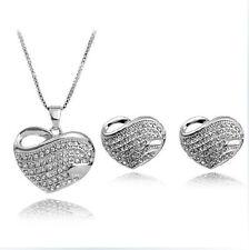 Amazing Silver & White Rhinestones Shiny Jewellery Set Necklace & Earrings S304