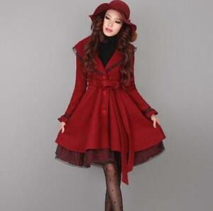 Women's Wool Blend A Line Swing Coat Vintage Golilla Winter Thick Outwear Jacket