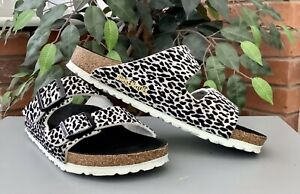 Birkenstock Arizona Ladies Sandals Leopard Lilly Black White Size 38/5