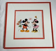 Disney I LOVE YOU Sericel 1994 Mickey and Minnie Mouse Certificate Framed (1