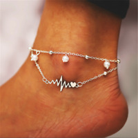 Women Double Ankle Bracelet 925 Silver ECG Heart Anklet Foot Jewelry Beach Chain