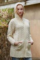 Ladies Hooded Natural Aran Coat Cardigan Celtic Knot Zipper Hd4025 - Aran Crafts