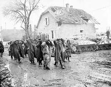 WWII Photo Captured German Soldiers Camoflauged US Sherman Tanks  WW2 B&W / 2370