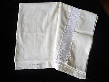 Unused laundered vintage French Fleur Bleue metis linen sheet white Crochet work