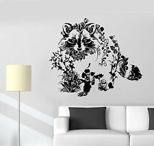 Vinyl Wall Decal Art Abstract Raccoon Animal Flowers Nature Stickers (1414ig)
