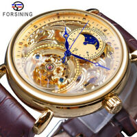 Original Forsining Moonphase Skeleton Automatic Mechanical Leather Men's Watch