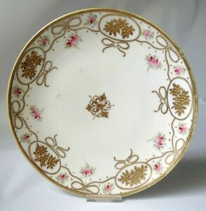 """Antique Nippon 8"""" Plate Pink Flower Beaded Gold Raised Bows Maple Leaf Mark 1891"""