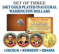 President OBAMA KENNEDY LINCOLN Presidential $1 US Dollar Gold Plated 3-Coin Set