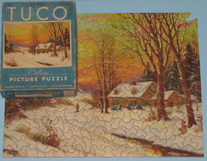 """VINTAGE TUCO DELUXE PICTURE PUZZLE JIGSAW """"SNOWTIME"""" SUNSET WINTER COTTAGE -1"""