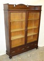 Antique Oak Double Door Bookcase – original finish - Glass Front Doors - Adjusta