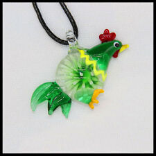 Fashion Women's cock lampwork Murano art glass beaded pendant necklace #A9