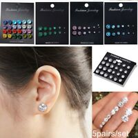 12Pairs Women Girls Colors Zircon Crystal CZ Ear Stud Earrings Jewelry Set Gift