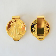 $20 Lady Liberty Coin Money Clip Wallet Clips 24k Gold Plated Money Holder - HDS