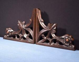 *French Antique Gothic Walnut Wood Brackets Salvage Trim Hand Carved