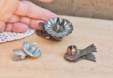 Christmas Tree Tin Metal Candle Holder Clip-On Vintage Antique Lot 3 Pine Cone