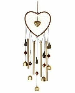 Heart Dream Catcher Wind Chimes Outdoor with Sailboat and Bell