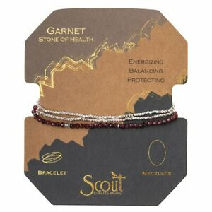 Scout Delicate GARNET Stone of Health BRACELET converts to NECKLACE Jewelry Wrap