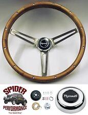 "1961-1966 Fury Valiant Belvedere steering wheel PLYMOUTH 15"" MUSCLE CAR WALNUT"