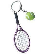 Grand porte-clés, bijoux de sac raquette rose/mauve + balle de tennis.