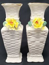 Vintage White Ceramic Basket Weave Bud Vases with Yellow Flowers (set of 2)
