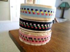 RIBBON, VINTAGE GROSGRAINS 3 ROLLS 1 PRICE, BLUE, NAVY AND PINK WITH SATIN DOTS