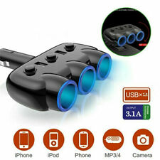 12V 3-Way Multi Car Cigarette Lighter Socket Extension Splitter USB Charger
