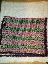 "PRIMITIVE WOVEN THROW COUCH BLANKET VINTAGE MULTI COLOR DESIGN  35"" x 42"""