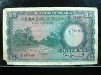 NIGERIA 5 POUNDS 1958 PEN 69# Currency Bank Money Banknote