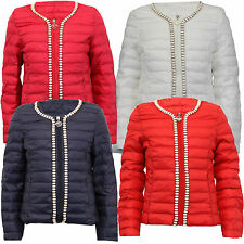 new girls jacket kids coat pearl beads padded quilted bubble puffer zip winter
