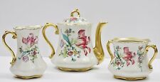 Vintage Concorde China Pink Tulip Tea Spring Floral Teapot Creamer Sugar Set
