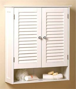 NANTUCKET SHUTTERED DOORS BATHROOM WALL CABINET w/ 2 Doors Cabinet & Shelf * NIB
