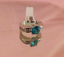 Paraiba & White Topaz, Russian Diopside RING Platinum/Silver Size 6 TGW 2.56 cts