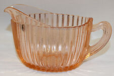 HOCKING DEPRESSION GLASS PINK QUEEN MARY OVAL CREAMER W/ HANDLE PITCHER