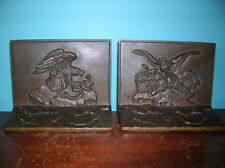 Antique Griffoul eagle snake serpent bronze bookends, Antioine-Louis Bayre, 1916