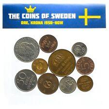 Lot de 10 mixte Suède pièces Suédois minerai Couronne SVERIGE circulé 1950-2018