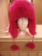 Mens Womens genuine Fox Fur Hat Cap Trapper Choice Color Black Silver Pinkish