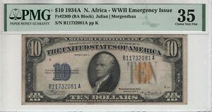 1934 A $10 SILVER CERTIFICATE NORTH AFRICA FR.2309 BA BLOCK PMG CHOICE VF 35