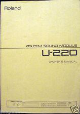 Roland U-220 RS-PCM Multi Timbral Sound Midi Module Original Owner's Manual Book