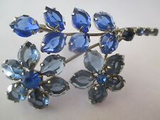Vintage AUSTRIA ... DEEP BLUE OPEN BACK FLOWER  2 3/4 INCH  Pin/Brooch--304