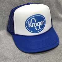 Kroger Grocery Store Vintage Trucker Hat Adjustable SnapBack Mesh Cap Blue Logo