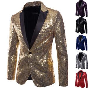 Men Sequin Glitter Blazer Suit Jacket Bling Men Tuxedo Club Gentleman Party Suit