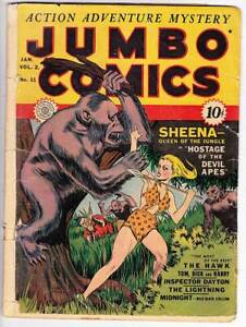 JUMBO COMICS #11 - 1942 Golden Age, centerfold out, Sheena - Hawk by Will Eisner