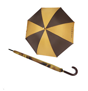 Vintage 80s Aramis Large Golfing Leather Handled Rain Umbrella Brown Gold
