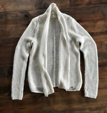 57a4516b39 Hollister Women s Sweater-Cardigan-Size L-White Silver Metallic-Machine  Washable