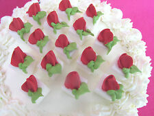 16 - White Sugar Cubes  Red Rosebuds Icing Cake & Cupcake Toppers & Tea Party