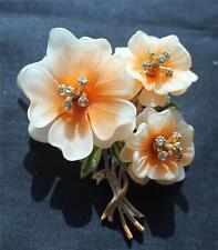 Rare CORO Pink Plastics Petals Rhinestones Trembler 3 Flowers Bouquet Brooch Pin