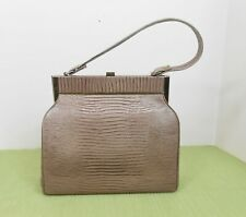 1950's Beige Tan Vinyl Lizard Pattern Structured Kelly Handbag Purse