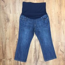 Liz Lange Maternity Denim Capri Comfort Knit Tummy Panel Womens Size 14