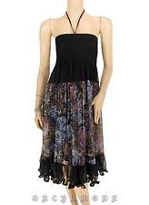 Robe Dos Nu / Jupe SPRING T. UNIQUE = 36 38 40 42 noir floral doublé NEUF