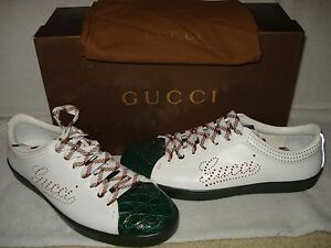 100% AUTHENTIC NEW MEN GUCCI NEW PRAGA CROCODILE SNEAKERS 8.5 G/US 9.5